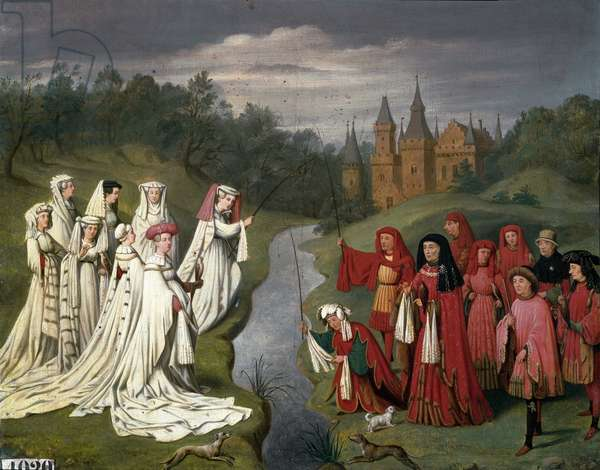 Nine princes and eight princesses of the House of Burgundy from Philippe the Hardi to Charles the Temeraire, hunting a falcon or fishing a line in the park of a castle. 1841 (Painting)