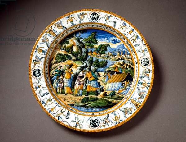The meeting of Aaron and Moise Ceramic plate produced in Urbino in the workshop Fontana, Italy. 1550 around Florence, Museo Nazionale del Bargello - The meeting between Aaron and Moses, ceramic plate from Fontana workshop, Urbino, Italy. Circa1550. National Museum of Bargello, Florence, Italy