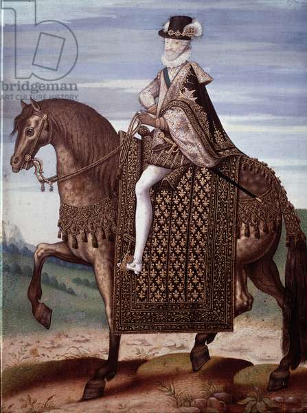 Equestrian portrait of Henry IV (1553-1610) King of France (Portrait of Henry IV king of France) Anonymous painting, 16th century Sun 27x20 cm Chantilly, Musee Conde