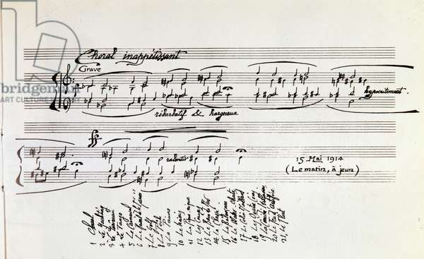 """Sheet music detail for """""""" Sports and Entertainment"""""""" cycle of twenty-one short pieces for piano by Erik Satie (1866-1925), the list of pieces appears below - Detail of musical score of """""""" Sports and entertainment"""""""" by french composer Erik Satie, 1914 - Private collection"""