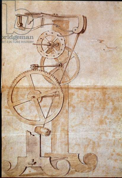 Clock a weighing pendulum studied by the Italian astronomer and physicist Galileo Galilei dit Galilee (1564-1642) in 1638 to measure time. Drawing. Florence, National Library