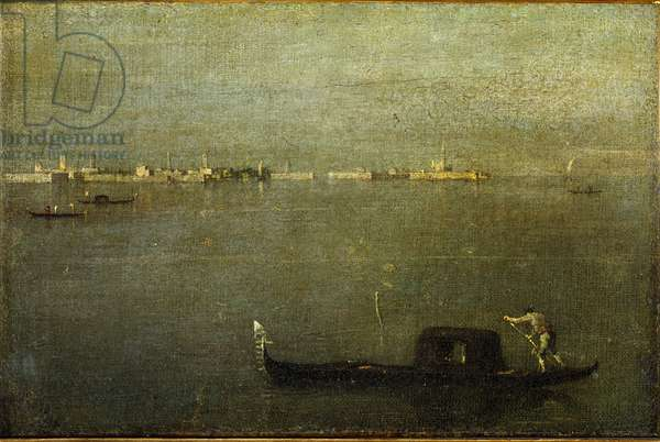 Gondola on the lagoon Painting by Francesco Guardi (1712-1793) 1780 approx. Sun. 25x38 cm Milan, Museo Poldi Pezzoli