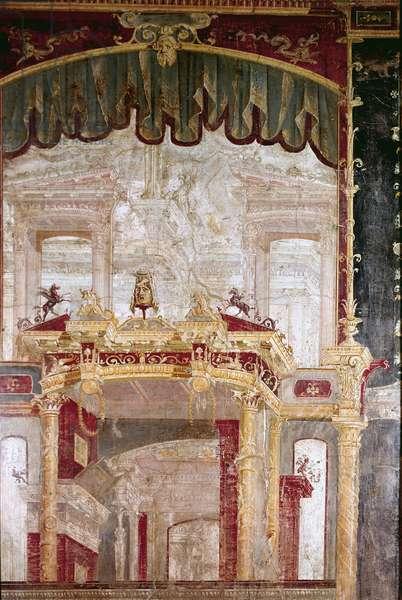 "Roman Art: """" decor"""" Roman fresco of the 4th Pompeian style from Ercolano (Herculanum or Herculaneum) 60-80 AD."