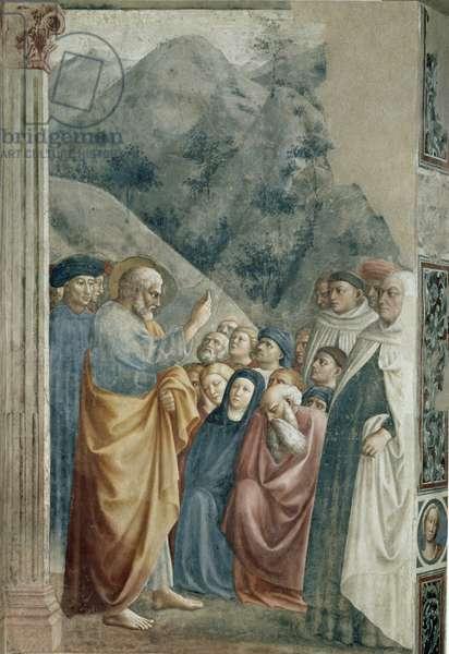 Predication of St. Peter - Fresco by Tommaso di Cristoforo Fini dit Masolino da Panicale (1383-around 1440), 255x162 cm, circa 1425. Firenze, Chiesa di Santa Maria del Carmine, Cappella Brancacci