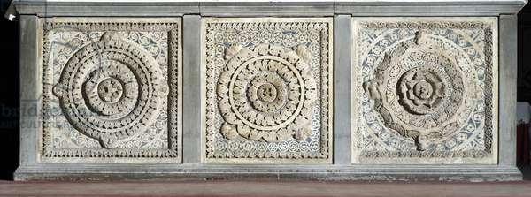 View of the altar consists of marble trays Marquete, 12th century Pistoia, Church San Giovanni Fuorcivitas, (St. John Outside the Walls) Italy