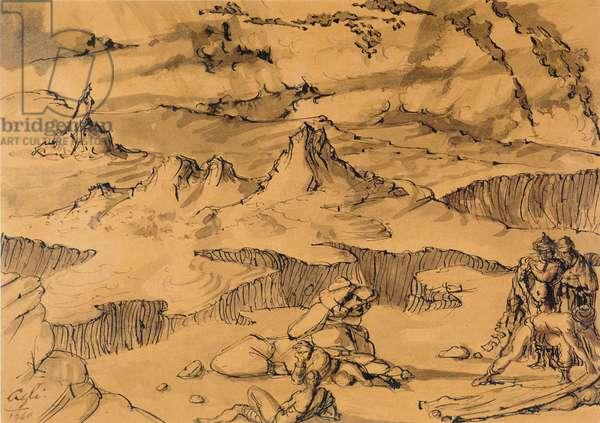 Arizona landscape, 1940 (w/c ink on paper)