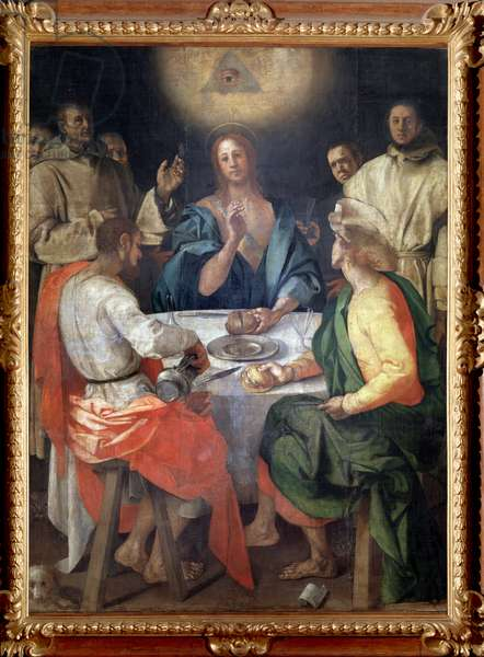 Dinner at Emmaus The eye in the divine triangle dominates the scene - Painting by Jacopo (Iacopo) Carrucci dit il Pontormo (Pontormo) (1494-1557) 1525 Dim 230x173 cm Galleria degli Uffizi (Offices), Florence