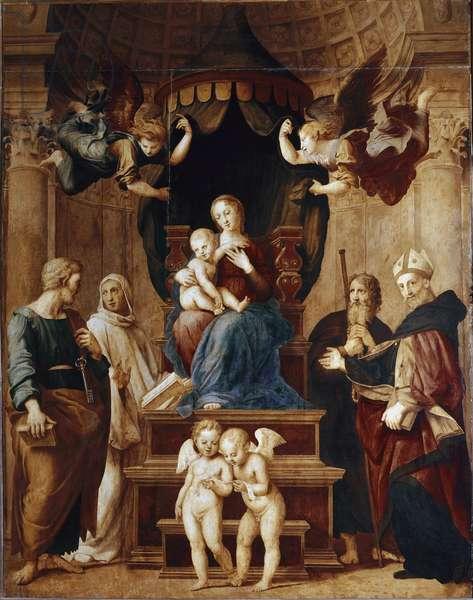 Virgin with four angels and four saints Raffaello Sanzio (1483-1520) 1507-1508 Dim 276x224 cm Florence, Palazzo Pitti, Galleria Palatina ©Luisa Ricciarini/Leemage