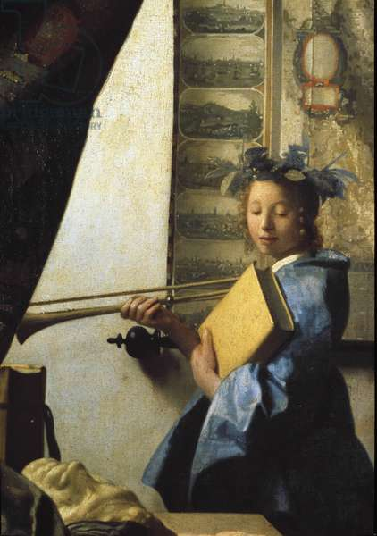 The art of painting or the painter's workshop. Detail of the model posing for the painter. 1665 (oil on canvas)