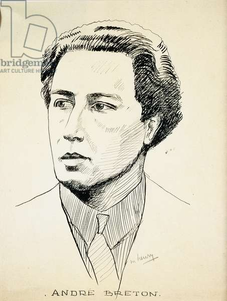 Portrait of the Surrealist Writer and Poet Andre Breton (1896-1966) Drawing in Chinese ink by Maurice Henry (1907-1984) 1929 Private Collection