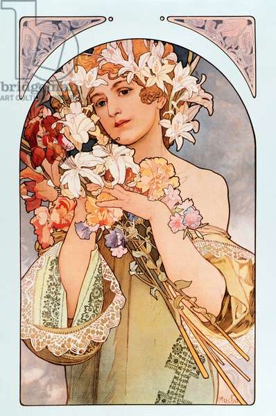 "Poster by Alphonse Mucha (1860-1939) entitled ""The flower"""", series of lithographs on flowers, 1897 - Poster by Alphonse Mucha: ""The flower"" from flowers serie, 1897 Dim 44x66 cm Private collection"