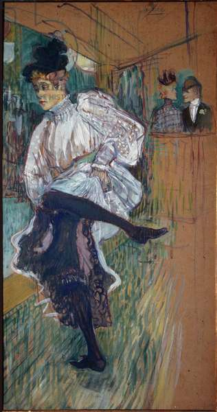 Jane Avril dancing Jane Avril (1868-1943) was a dancer of the Moulin Rouge. Painting by Henri de Toulouse Lautrec (1864-1901) 1891 Sun. 0,85x0,45 m Paris, musee d'Orsay