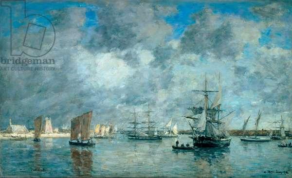 Port of Camaret sur Mer (Camaret-sur-Mer). Painting by Eugene Boudin (1824-1898), 1872. Oil on canvas. Dim: 55,5x89,5 cm. Paris, Musee d'Orsay