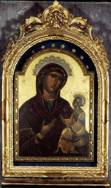 Icone de la vierge Odegitria, combattante, peinture grecque, 16eme siecle