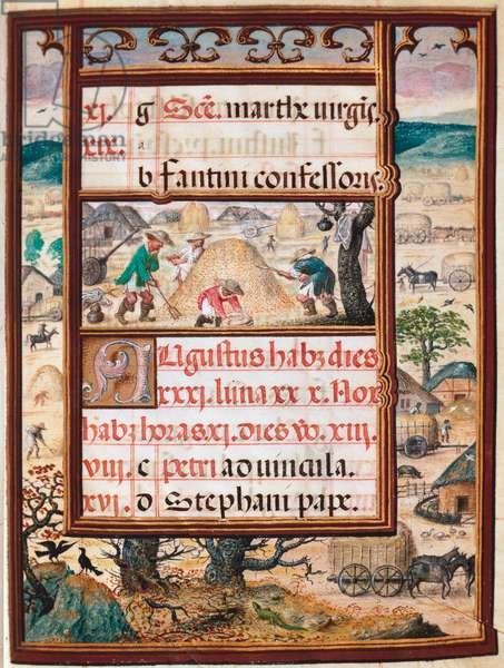 """August. Peasants at work. Page of the manuscript """""""" Book of Hours"""" by Manuel I of Portugal (1469-1521) 1517. Lisbon, Museo di Arte Antica"""