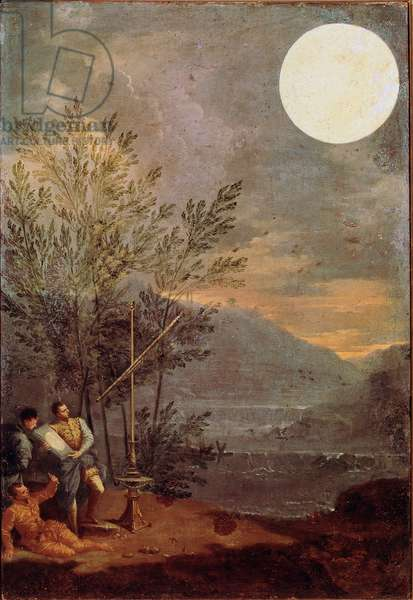 The observatory of the Sun Scientists observing the sun at long sight. Painting by Donato Creti (1671-1749) 18th century Rome Pinacoteca Vaticana