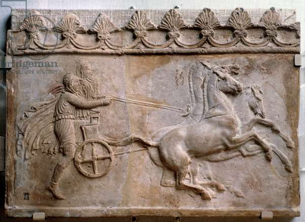 """Roman Art: """""""" Paris takes Helene off a tank drawn by four horses """""""" Fragment of terracotta relief (The abduction of Helena by Paris - Fragment of a terracotta relief) 1st century AD British Museum London"""
