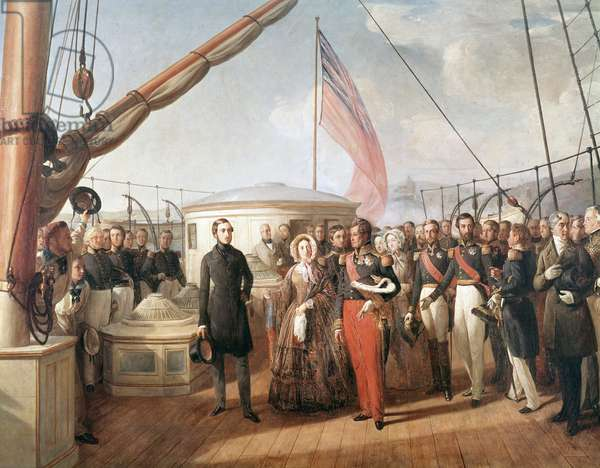 Interview between Victoria, Queen of England and Louis-Philipp, King of France, on board of the yacht Victoria and Albert, off Treport, 2 September 1843 (Detail Painting, 19th century)