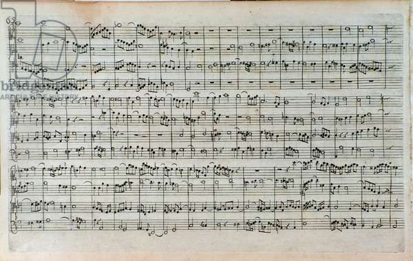 """Title page of musical score of """""""" die Kunst der Fuge"""""""" (The Art of the Fugue) incomplete work by Johann Sebastian Bach (1685-1750). The last and incomplete fugue. 1752. Page of the last incomplete fugue. Sheet music of """""""" L'Art de la fugue BWV 1080"""""""", unfinished work by Jean Sebastien Bach (1685-1750). Bologna, civico museo musicale."""