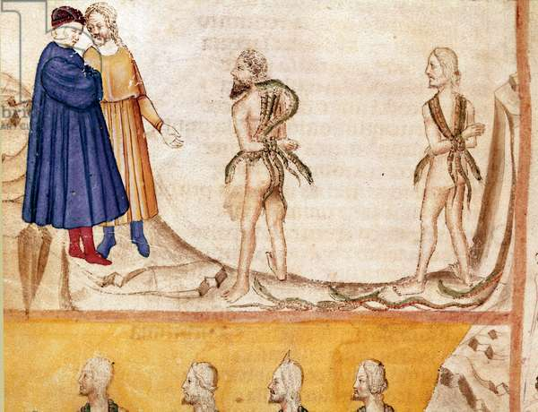 """Circle of Thieves: Vanni Fucci (13th century) predicted to Dante and Virgil the defeat of the White Guelfs. Illuminated page illustrating the 24th song of Hell draws from the """"Divina Commedia"""" by Dante Alighieri (1265-1321). 14th century, Venice, Biblioteca Marciana"""