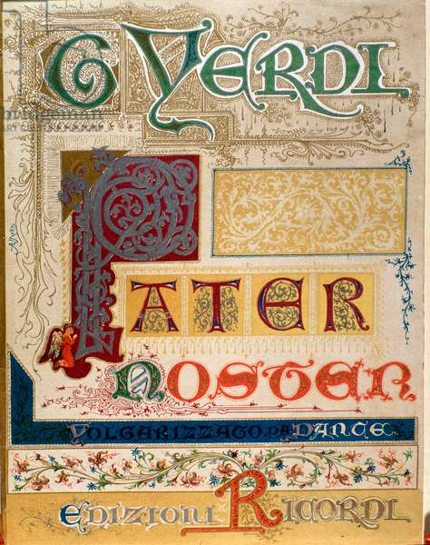 """Sheet music for """""""" Pater noster"""""""" by Giuseppe Verdi (1813-1901) Italian romantic composer - Frontispiece of musical score of """""""" Pater noster"""""""" by Giuseppe Verdi - Private collection"""