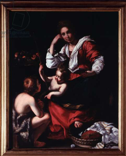 Representation of the Holy Family with Saint John the Baptist Child (The holy family with st John the baptist) Painting by Bernardo Strozzi (1581-1644) Genes, Musei di Strada Nuova (ex Palazzo Rosso) Italy