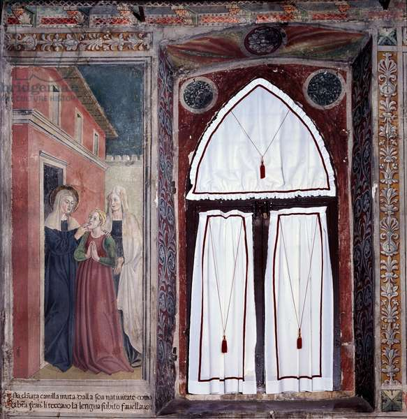 "Life of St. Francesca Romana (Santa Francesca romana) (1384-1440) (Histories of St Francesca Romana): """" Camilla, a mute is miraculously cared for by the saint"""" (Camilla, a deaf-mute is healed by the saint) Fresco by Antoniazzo Romano (15th century) 1468 Rome, convent of the community of Oblate di Tor de 'Specchi Italy"