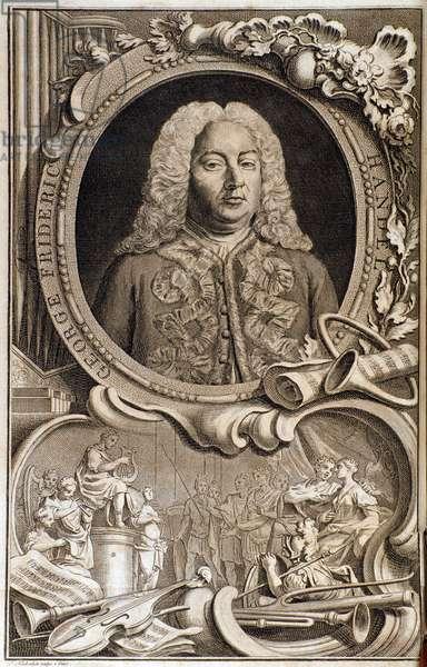 "Portrait of Georg Friedrich Handel (ou Handel) (1685-1759) Frontispiece of """" Alexander's feast"""""" 18th century. Bologna, civico museo bibliografico"