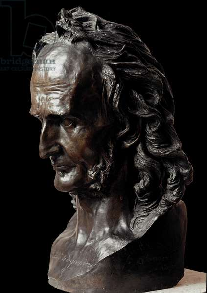 Bust of Nicolo Paganini (1782-1840) Italian violinist and composer. Bronze sculpture by David d'Angers (1788-1856) Angers, Musee des Beaux Arts