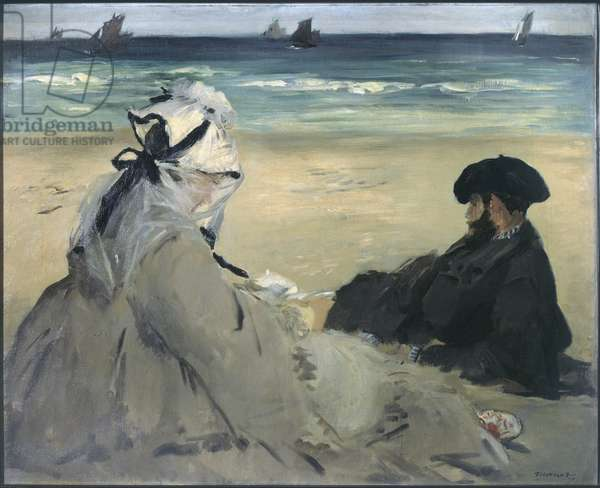 On the beach. Portrait of Madame Edouard Manet (1830-1906) and Eugene Manet (1833-1892), the artist's wife and brother in Berck-sur-Mer (Berck sur mer). Painting by Edouard Manet (1832-1883), 1873. Oil on canvas. Orsay Museum
