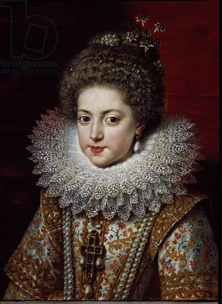 Portrait of Elisabeth of France (1602-1644) (Elisabeth of Bourbon) Painting by Frans Pourbus II the Young (1569-1622), 1611 around Florence, Galleria Palatina