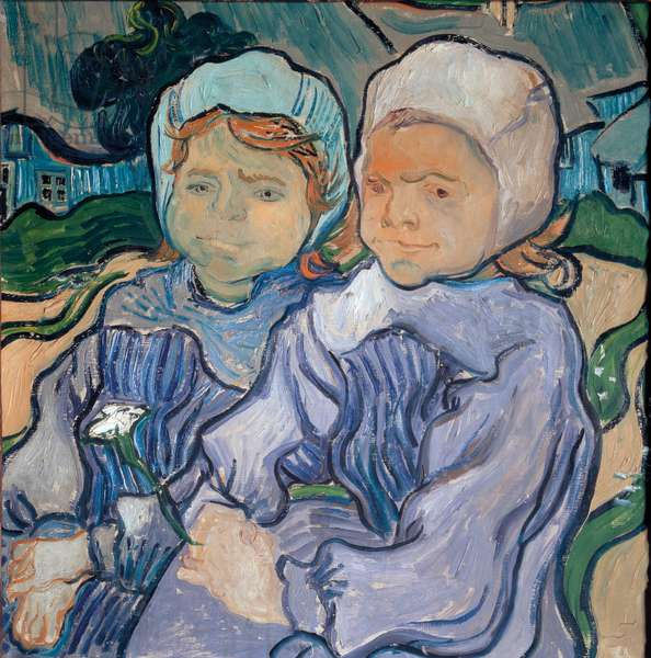 Two little girls, june 1890 (oil on canvas)