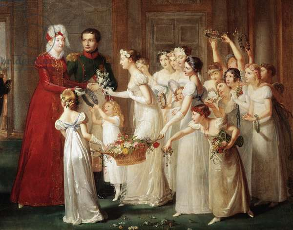 The arrival of Marie-Louise (Marie Louise) from Austria (1791-1847) and Napoleon I Bonaparte (1769-1821) in Compiegne on 28/03/1810. The bridesmaids in white dress with flowers and offer crowns to the Marie couple. Painting by Pauline Auzou (1775-1835) Versailles, Musee et Domaine National de Versailles et de Trianon