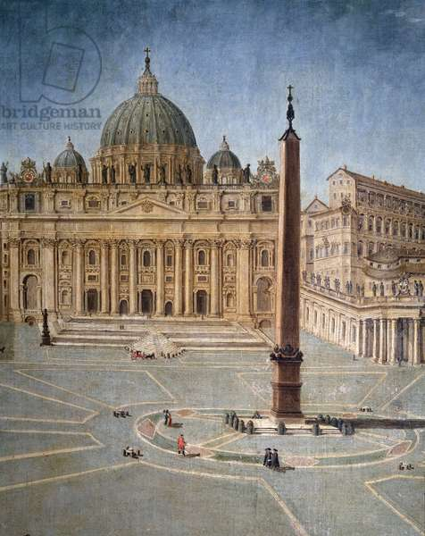 View of the square of the Basilica of St. Peter in Rome (Saint Peter square in Rome) Detail Anonymous painting, 17th century - Villa di Poggio Imperiale Florence