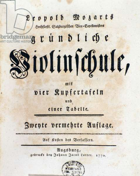 Title page of violin method by Leopold Mozart (1719-1787) father of Wolfgang Amadeus