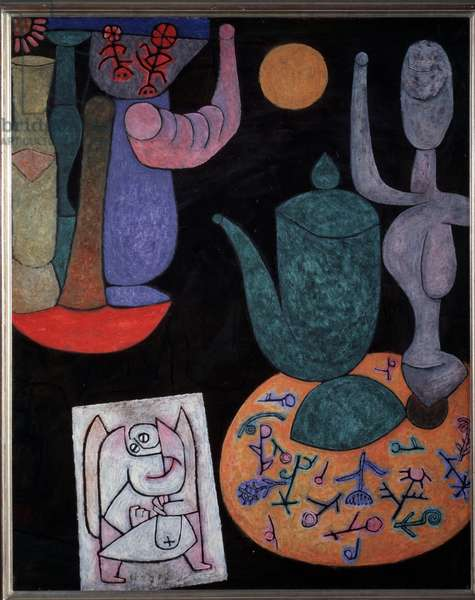 Still life on black background Painting by Paul Klee (1879-1940), 1940 Private collection
