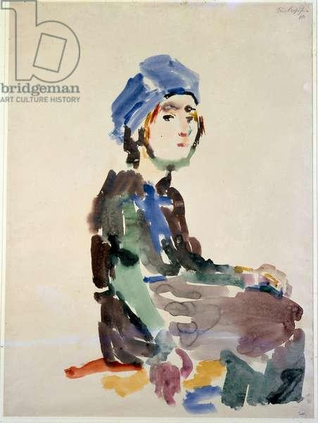 Sitting Woman. Drawing by Oskar Kokoschka (1886-1980). New York, Museum of Modern Art
