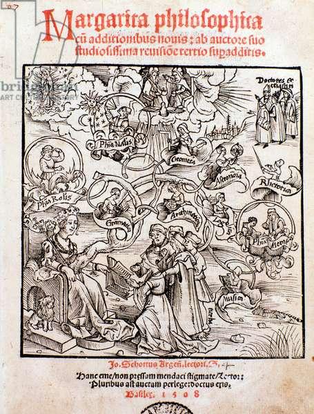 The liberal arts: Trivium (grammar, logic and rhetoric) and quadrivium (arithmetic, geometry, music, and astronomy) (engraving, 1508)