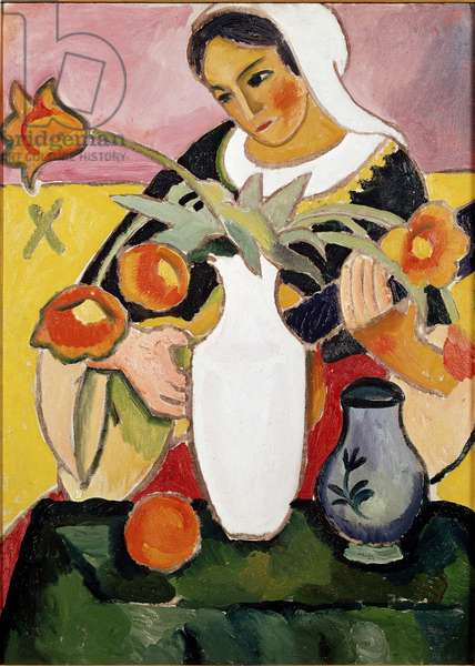 Lute player Painting by August Macke (1887-1914) 1910 Paris, modern art gallery