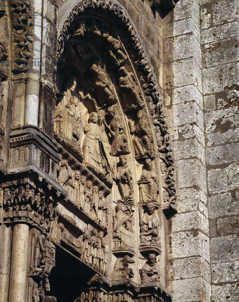 """Gothic Art: """""""" detail of the tympanum of the royal portal of the Basilica of Notre Dame de Chartres, 1145-1150 (Eure et Loir) (Detail of tympanum of the royal portal of Our Lady of Chartres)"""