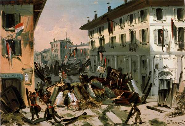 Revolutions of 1848, Five Days of Milan: barricades on corso de porta Vercellina on March 22nd (painting, 19th century)