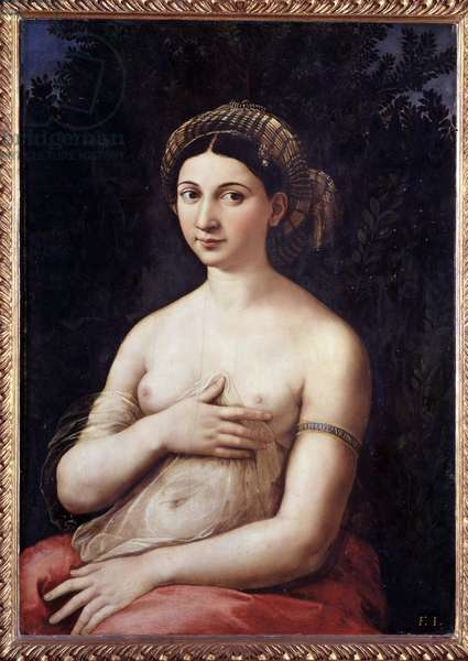 Portrait of a young lady (La Fornarina) Portrait of a young lady, with naked breast - Painting by Raffaello Sanzio dit Raphael (1483 - 1520), 1520 Oil on wood Roma, Palazzo Barberini, Galleria Nazionale d'Arte Antica