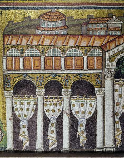 View of the Palace of the Byzantine Emperor Theodoric the Great. Detail. Lateral mosaic of the central nave, Basilica of Sant'Apollinare nuovo (Saint Apollinar the Neuf) in Ravenna, Italy