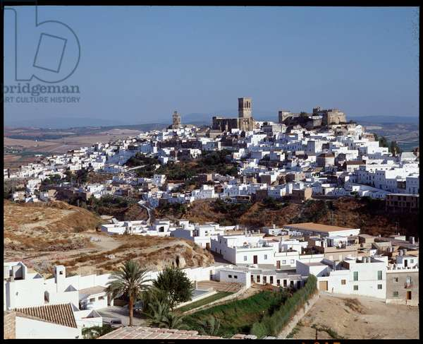 Panoramic view of the city of Arcos de la Frontera, Andalusia, Spain (View of the city of Arcos de la Frontera in Andalusia, Spain)