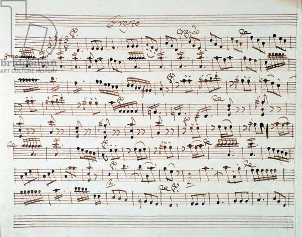 "Page of musical score of first violin in """" Mithridate"""" overture by Austrian composer Wolfgang Amadeus Mozart (1756-1791), 1770. Sheet music page for the first violin in the opening of """" Mitridate, re di Ponto, K. 87 (74a) (Mithridate, King of the Pont)"""" opera by W. A. Mozart. 1770 Milan, Biblioteca del Conservatorio"