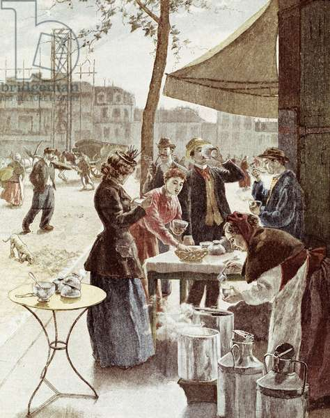 La laitiere, 6 am on Sunday morning. Colour engraving 14 July 1895. Paris, Musee Carnavalet