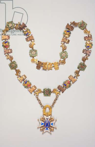 Spain - Order of Charles III: necklace worn by Alexander 1st Obrenovich (1876-1903), King of Serbia (1889-1903) - He became a knight of the Order of Charles III on September 24, 1897 - Manufactured by Cevalvo (Madrid) - 1850-1900 - Gold and Emaux - The necklace consists of 41 decorated links of the figure of Charles III borders of palm and laurels, alternating with towers, lions and military trophees - Private collection