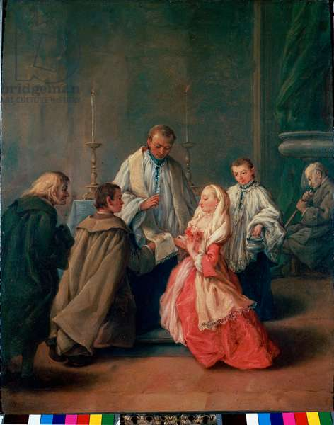 "The Sacraments: """" Wedding Ceremony"""" Painting by Pietro Longhi (Pietro Falca) (1702-1785) 1755 approx. Sun. 62x50 cm Venice, Pinacoteca Querini-Stampalia"