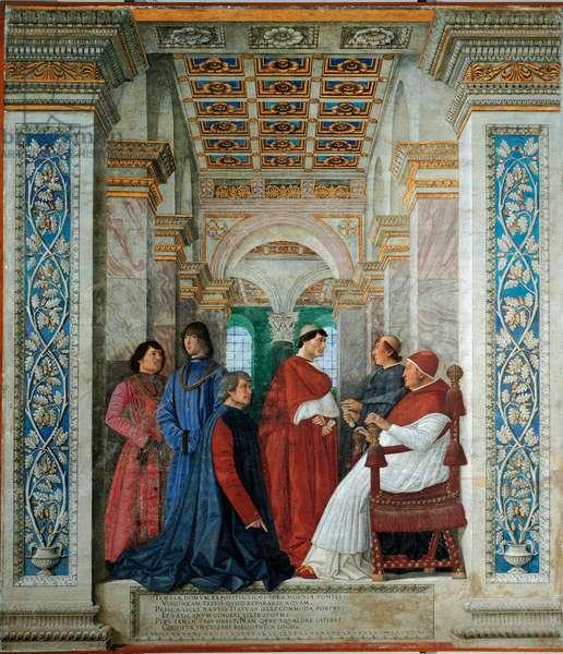 Pope Sixtus IV (1414-1484) appointing Bartolomeo Sacchi (or Bartolome Platina, in platinum), kneels before him, Curator of the Vatican Bibliotheque (Apostolic Bibliotheque) in 1475. Right behind Sacchi is Cardinal Giuliano della Rovere (then Pope Julius II) and Prothonotary Apostolic Raffaele Sansoni Riario della Rovere (1461-1521). Behind him, John (Giovanni) della Rovere (1457-1501) and Girolamo Riario (1433-1488) Fresco by Marco Melozzo Da Forli (Melozzo degli Ambrosi) (1438-1494), 1477. Dim. 370 x 315 cm. Pinacoteca of the Vatican.