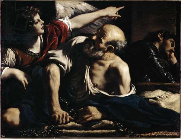 Saint Peter liberates by an angel - Painting by Barbieri Giovanni Francesco dit Le Guerchin (1591-1666), oil on canvas, 105x136 cm. circa 1622. Madrid, Prado